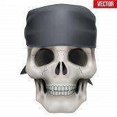 Vector Human skull with bandana on head