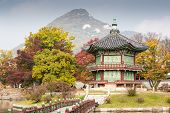 image of seoul south korea  - Gyeongbokgung Palace and its grounds on a fine autumn day in Seoul - JPG
