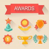 Trophy and awards icons set. flat style