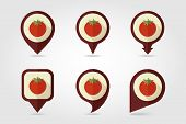 Tomato Mapping Pins Icons With Long Shadow