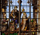 Stained Glass Window Of Charles V And Isabella Of Portugal