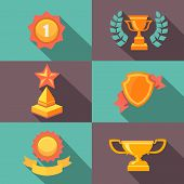 Awards and trophy icons  flat  illustration