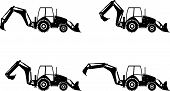 picture of backhoe  - Detailed illustration of backhoe loaders heavy equipment and machinery - JPG