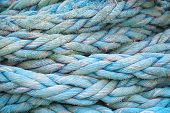 Blue Nautical Rope, Close-up Background Texture