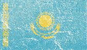 Flag Of Kazakhstan With Old Texture. Vector