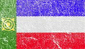 Flag Of Khakassia With Old Texture. Vector