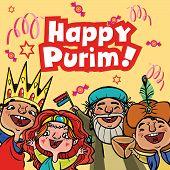 stock photo of purim  - Happy jewish children in fancy dress enjoy Purim - JPG