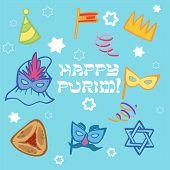 Funny Happy Purim Icon Set. Vector Illustration