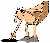 pic of bend over  - This illustration depicts a caveman bending over and pointing into a black hole - JPG