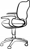 Office chair sketch linear vector illustration