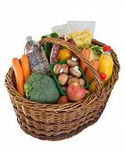 Shopping Basket With Foods Fruits And Vegetables