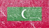 Flag Of Maldives With Old Texture. Vector