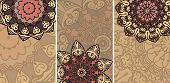 Set of cards wuith ethnic pattern