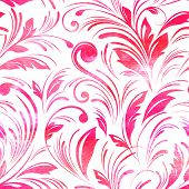 Watercolor pink floral seamless . Vector background