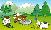 Cows at the mountains illustration