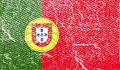 Flag Of Portugal With Old Texture. Vector