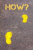 Yellow Footsteps On Sidewalk Towards How Message