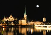 The Night View Of Major Landmarks In Zurich poster