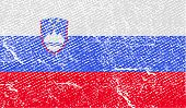 Flag Of Slovenia With Old Texture. Vector