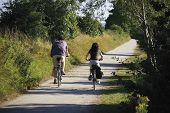 couple cycling along path