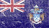 Flag Of Tristan Da Cunha With Old Texture. Vector