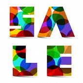 Sale Colorful Vector Title Isolated on White Background