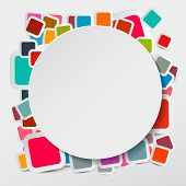 Vector Paper Circle on Colorful Square Round Rectangles Stickers Background