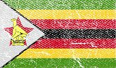 Flag Of Zimbabwe With Old Texture. Vector