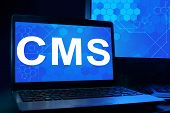 Computer with words CMS (Content management system).