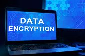 Computer with words Data Encryption.