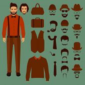 hipster vector character,