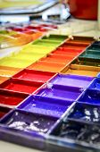 image of paint palette  - Paint palette with rainbow color to paint