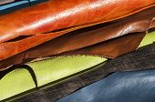 foto of manufacturing  - Coined in rolls processed color leather for leather manufacture - JPG