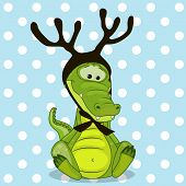 foto of antlers  - Christmas illustration of cartoon Crocodile with antlers - JPG