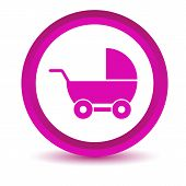 Purple baby carriage icon