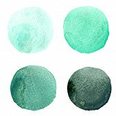 stock photo of mint-green  - Four round watercolor stains from mint green to dark green on wahite background isolated - JPG