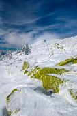 foto of snow clouds  - Winter Carpathian mountains all covered with snow in the sky beautiful clouds - JPG