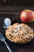 picture of pie-in-face  - Baked apple pie in the moldselective focus - JPG