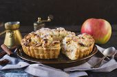 image of pie-in-face  - Selective focus on the front part of homemade apple pie - JPG