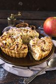 picture of pie-in-face  - Fresh and baked homemade apple pie in the plateselective focus - JPG