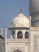 image of mausoleum  - Close perspective angle of the Taj Mahal mausoleum in Agra - JPG