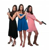 pic of triplets  - Beautiful women triplets with loaded handgun pistols - JPG