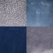 Set Of Blue Leather Samples