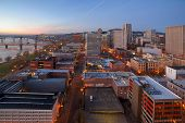 stock photo of early morning  - Portland Oregon downtown cityscape aerial view during early morning  - JPG