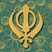 pic of khanda  - Sikh religious symbol over green golden floral background - JPG