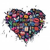 foto of glass heart  - Happy Womens Day on the heart background of colorful blots - JPG