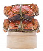 image of hairy  - Hairy crabs on the Bamboo steamer Isolated on white background - JPG