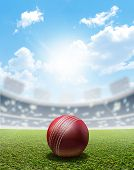 pic of cricket  - A cricket stadium with a red leather cricket ball on an unmarked green grass pitch in the daytime under a blue sky - JPG