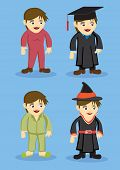 stock photo of jumpsuits  - Set of vector cute cartoon Girl in Jumpsuit Academic Gown Pyjamas and Witch Costumes isolated on blue background - JPG