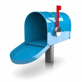 foto of mailbox  - Empty Blue Mailbox on White Background 3D Illustration - JPG